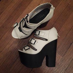 Shoe Cult Black and White Platform Heels